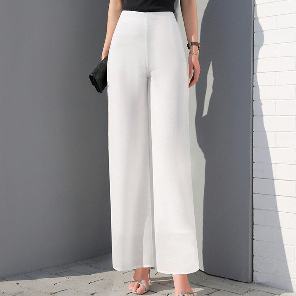 Cheap Women's Fashion High Waist Solid Color Slim Straight Wide Leg Chiffon Pants
