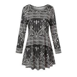 Women's Round Neck National Style Print Long Sleeve Swing Casual T-shirt -