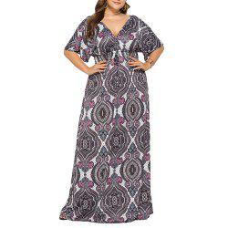 Deep V National Style Batwing Sleeve Plus Размер Толстая печать Maxi Dress -