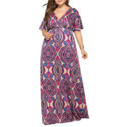 Deep V National Style Batwing Sleeve Plus Size Fat Print Maxi Dress -