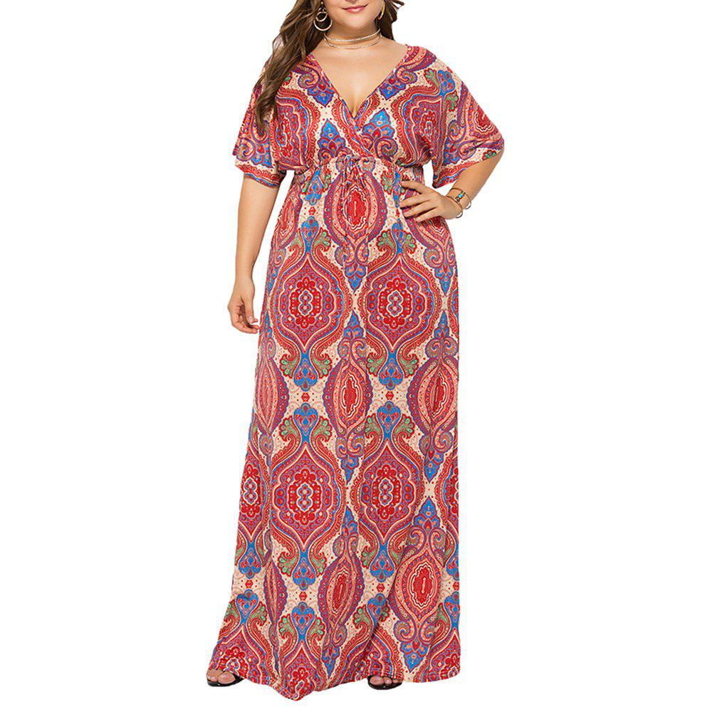 Deep V National Style Batwing Sleeve Plus Размер Толстая печать Maxi Dress