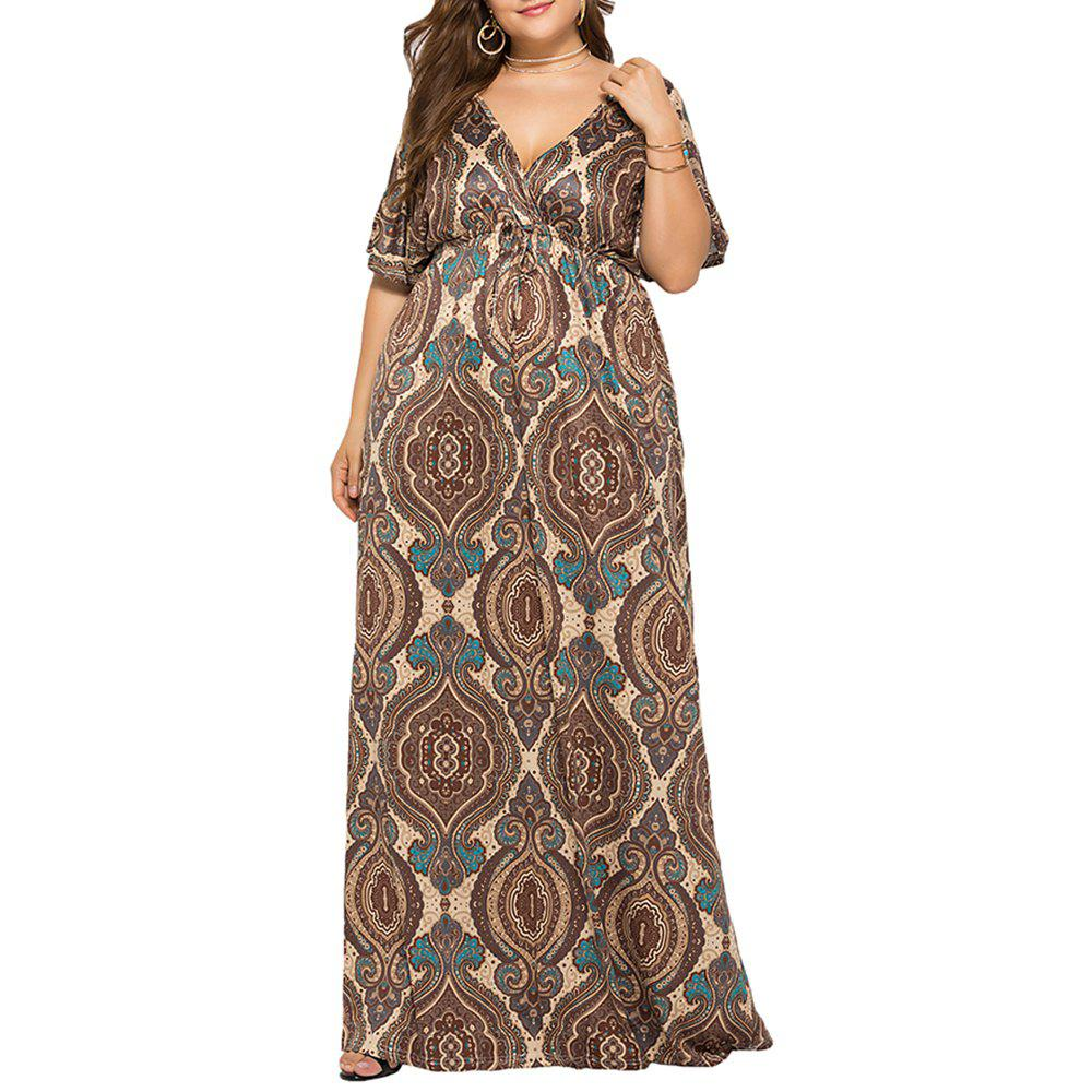 New Deep V National Style Batwing Sleeve Plus Size Fat Print Maxi Dress
