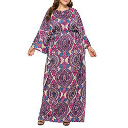 Loose Ethnic Style Classic Printed Batwing Sleeve Plus Size Maxi Dresses -