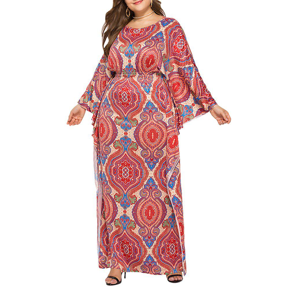 Outfit Loose Ethnic Style Classic Printed Batwing Sleeve Plus Size Maxi Dresses