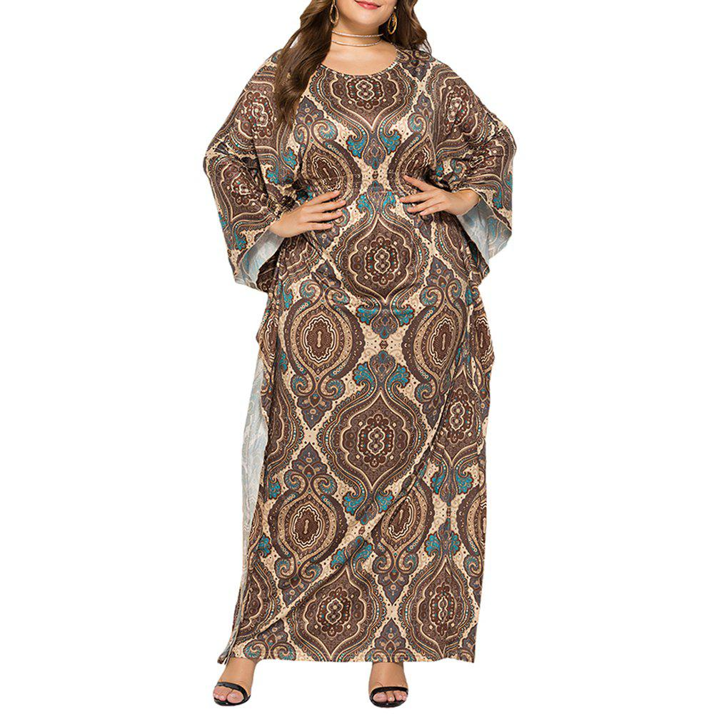 Store Loose Ethnic Style Classic Printed Batwing Sleeve Plus Size Maxi Dresses