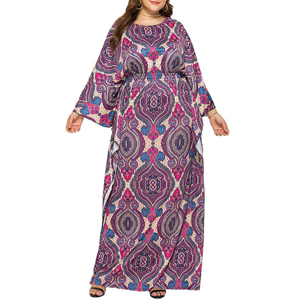 Fancy Loose Ethnic Style Classic Printed Batwing Sleeve Plus Size Maxi Dresses