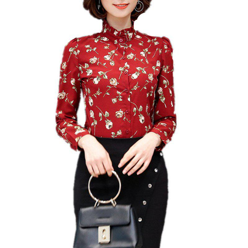 Online Women's Stand Collar Floral Print Slim Long Sleeve OL Chiffon Shirt
