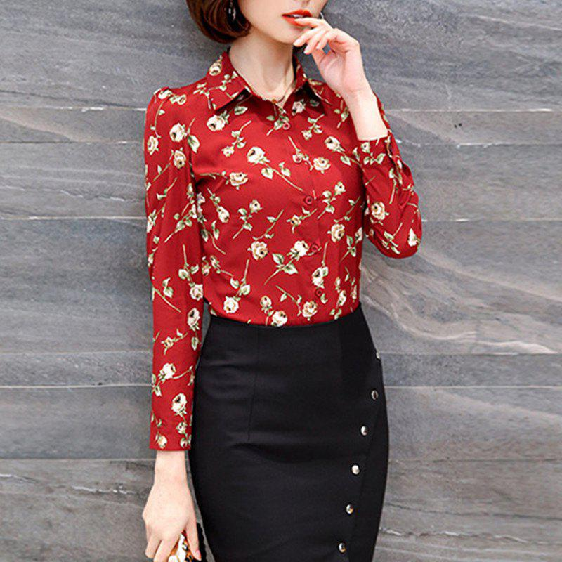 Shops Shirt Collar Floral Print Long Sleeve Career OL Slim Plus Size Chiffon Shirt