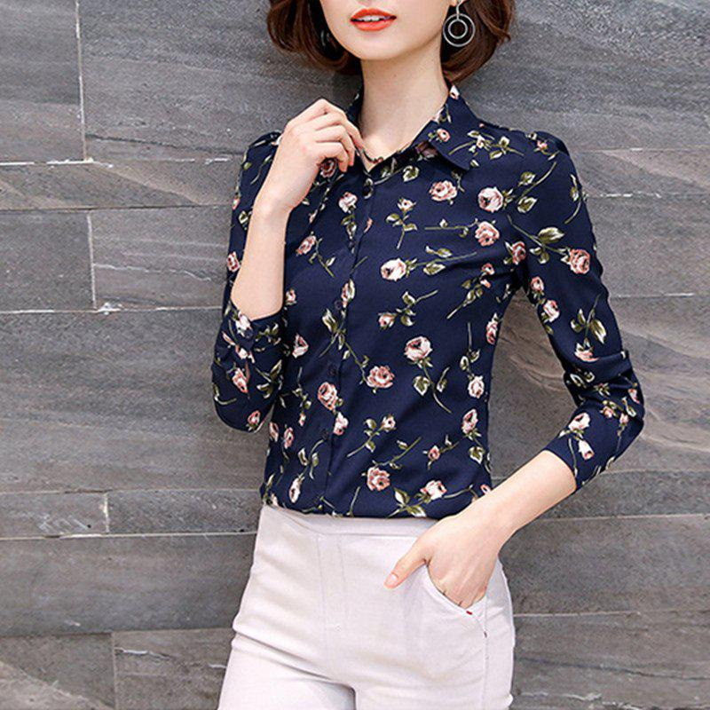 Fancy Shirt Collar Foral Print Long Sleeve Career OL Slim Plus Size Chiffon Shirt