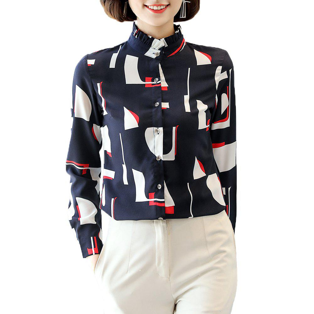 Outfits Women's Stand Collar Wild Slim Print Long Sleeve Plus Size OL Chiffon Shirt