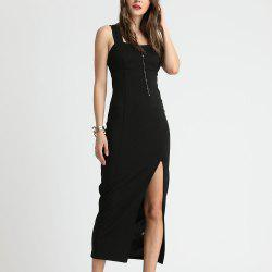 SBETRO Black Evening Slim Slit Sling Dress Party -