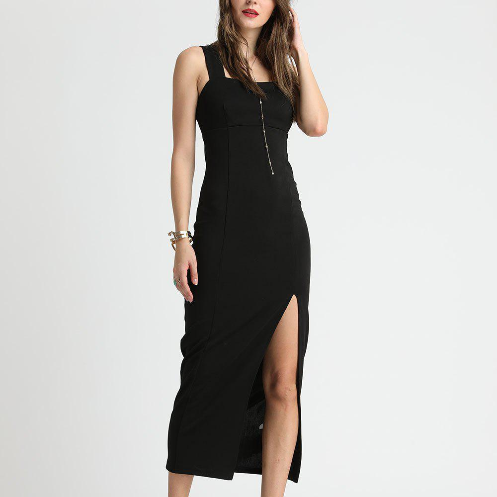Unique SBETRO Black Evening Slim Slit Sling Dress Party