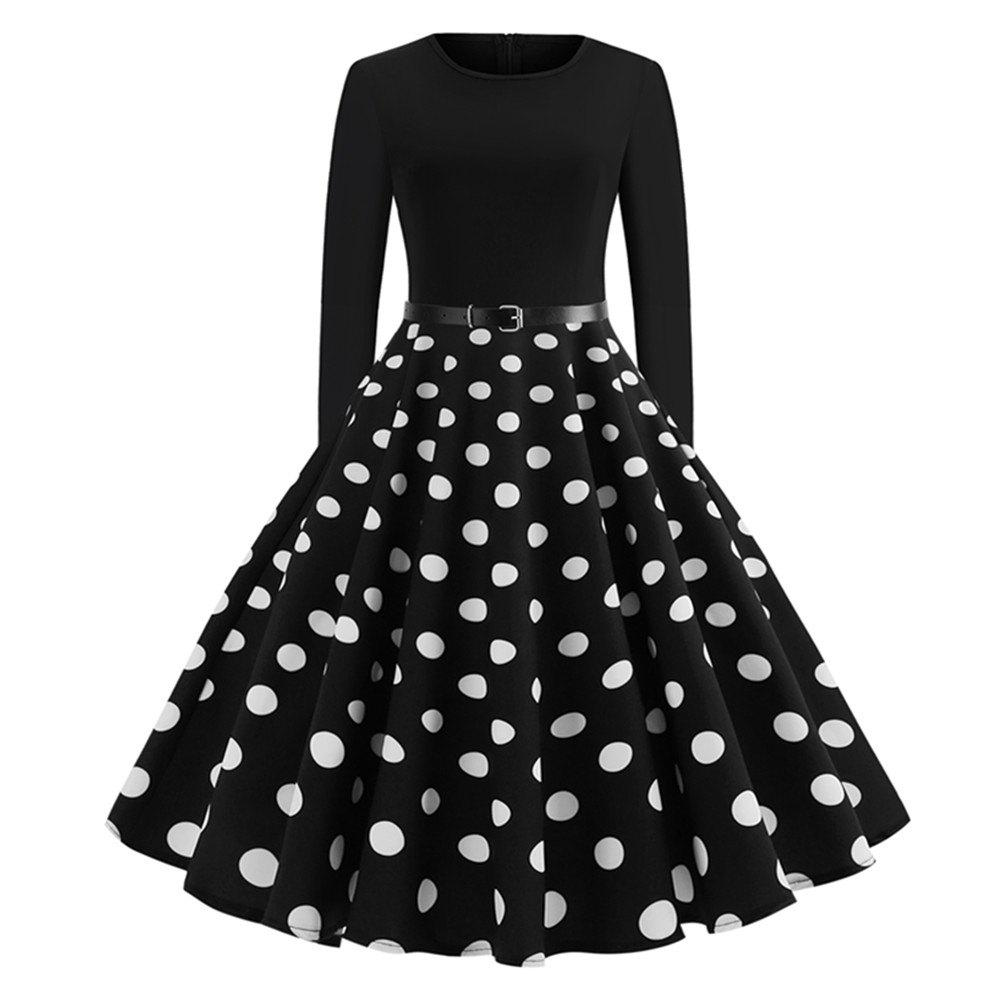 Hot Printed Patchwork Dress with Long Sleeves and Large Skirt