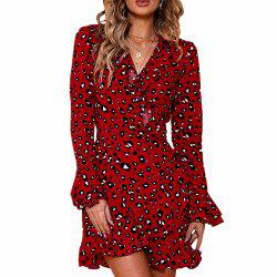 V Neck Dress with Printed Flounces -