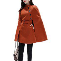 Women'S Cape Solid Color Buttoned Stand Collar Split Loose Cape -