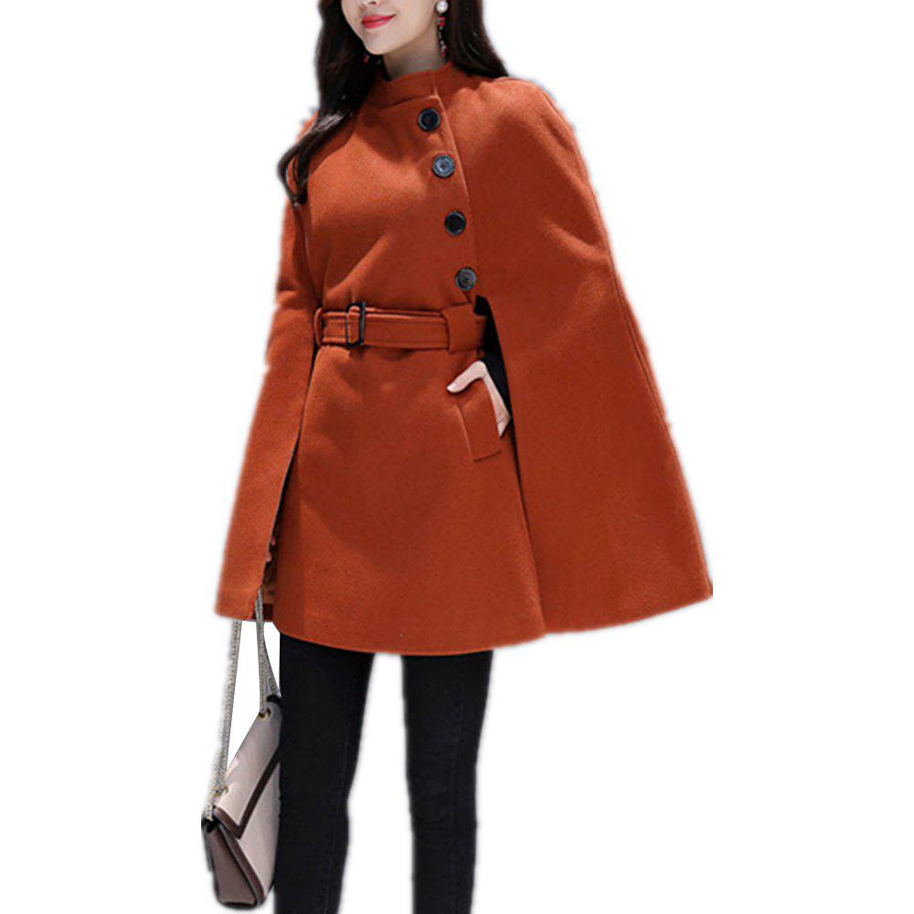 Unique Women'S Cape Solid Color Buttoned Stand Collar Split Loose Cape