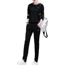 Women'S 2 Pcs Set Plus Size Long Sleeve O Neck Top Pocketed Pants Suit -