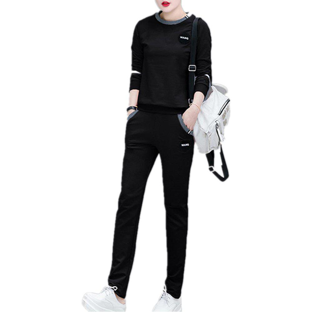 Store Women'S 2 Pcs Set Plus Size Long Sleeve O Neck Top Pocketed Pants Suit
