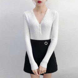 Women'S Sweater Button Solid Color V Neck Long Sleeve Sweater -