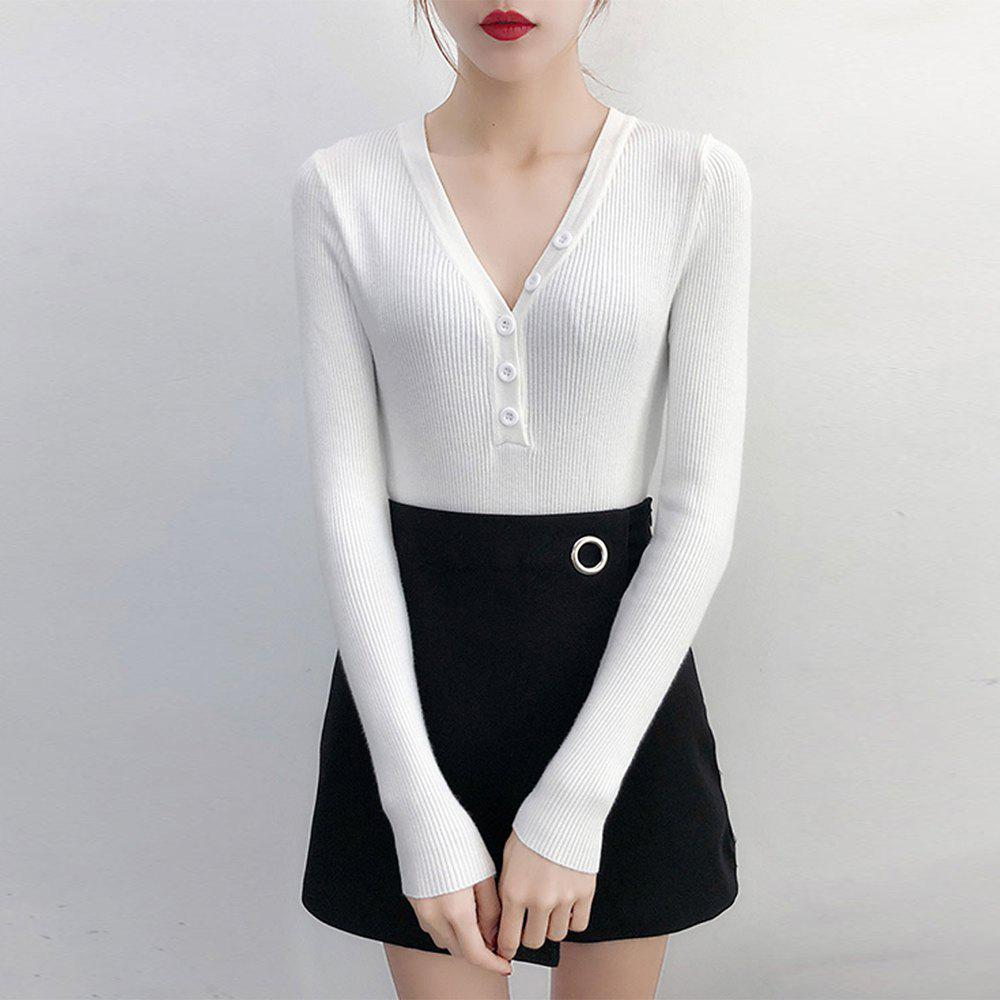 Unique Women'S Sweater Button Solid Color V Neck Long Sleeve Sweater
