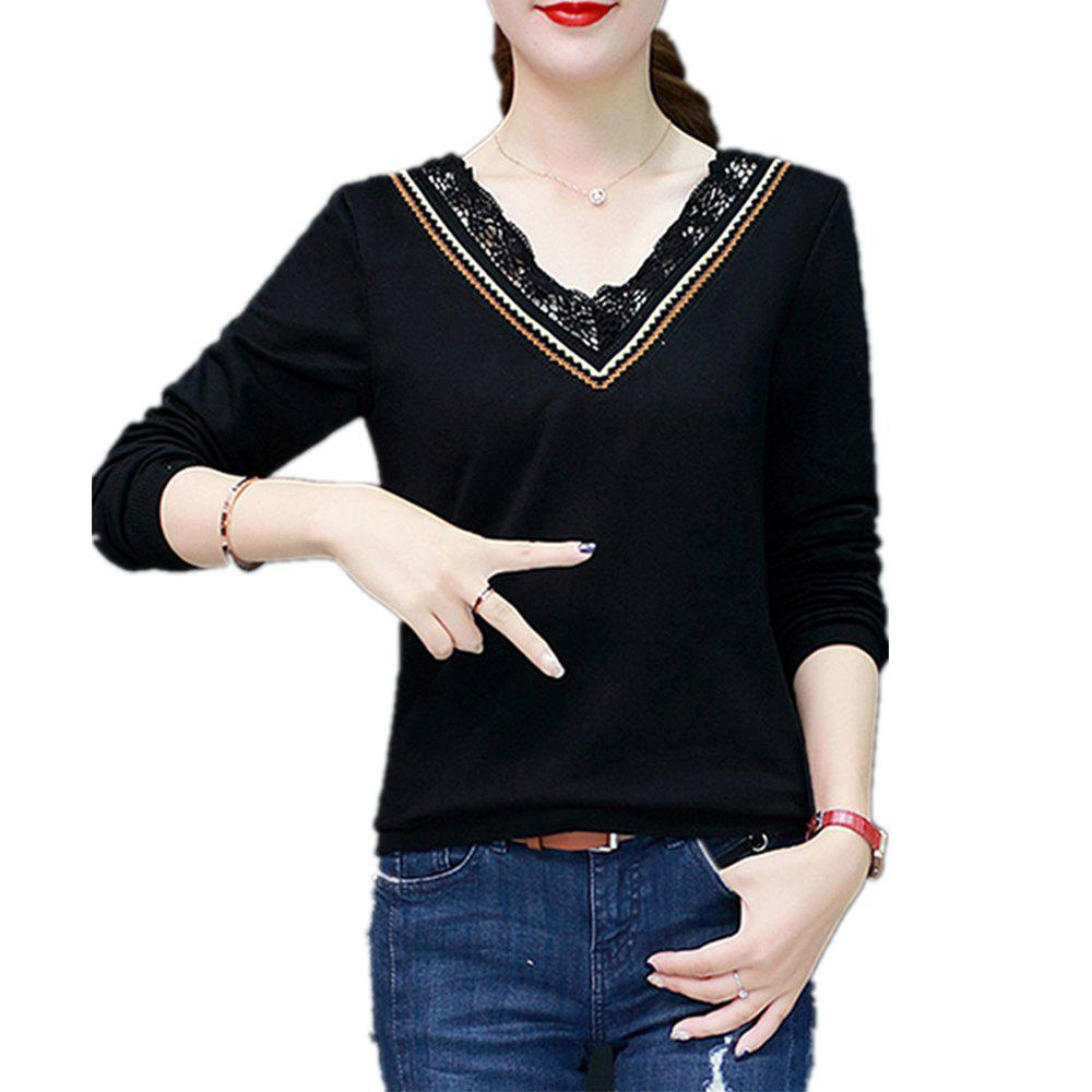 Shops Women's T Shirt V Neck Lace Slim Top