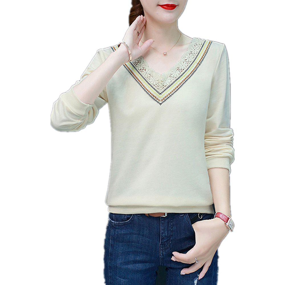 Cheap Women's T Shirt V Neck Lace Slim Top
