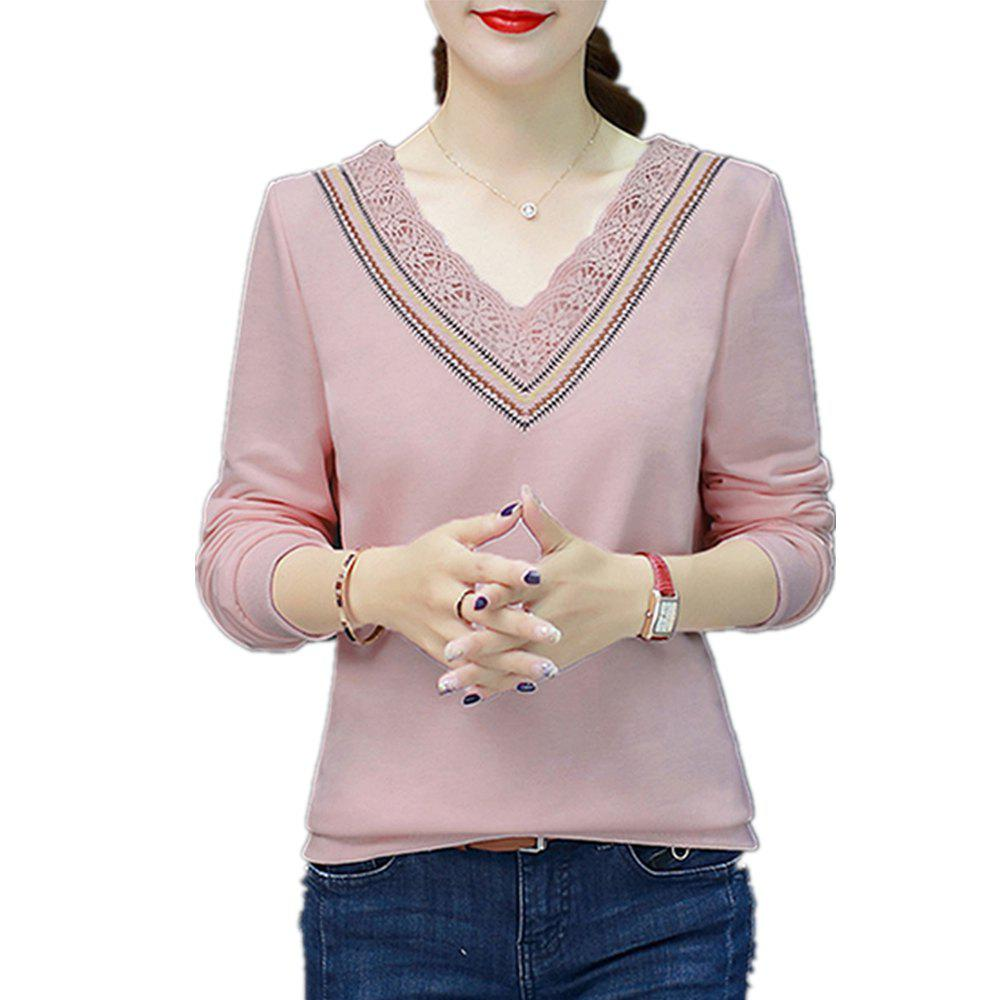 Trendy Women's T Shirt V Neck Lace Slim Top