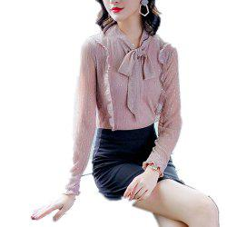 Women'S Blouse Fashion Long Sleeve Bow Top -