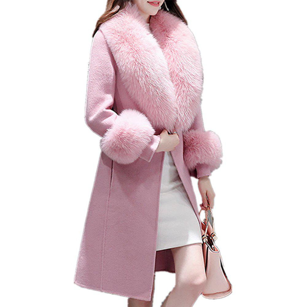 Affordable Women's Coat Synthetic Fur Collar Patchwork Long Sleeve Fashion Coat