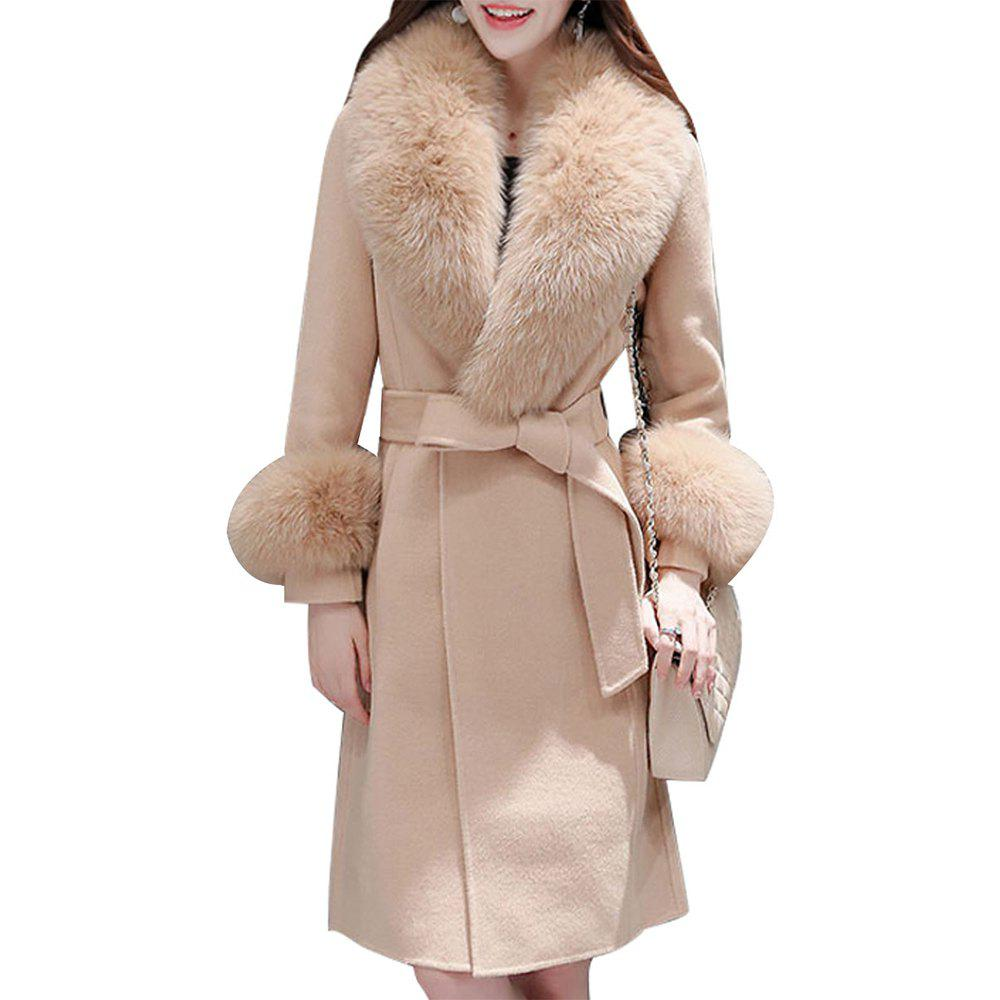 Best Women's Coat Synthetic Fur Collar Patchwork Long Sleeve Fashion Coat