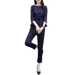 Women's Two Pieces Set Plus Size O Neck Three Quarters Sleeve Top Striped Patte -
