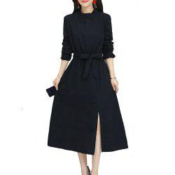 Women's Aline Dress Solid Color Ruffled Collar Sash Split Dress -