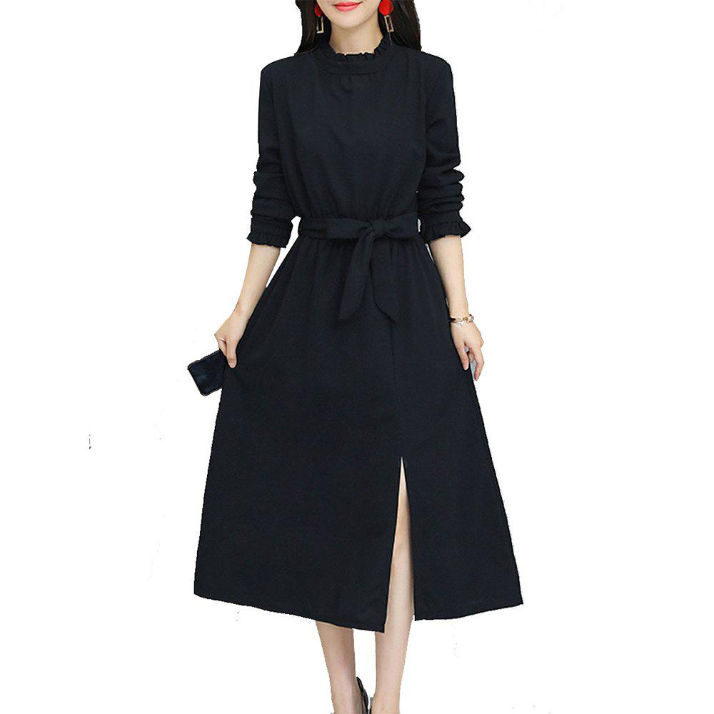 Online Women's Aline Dress Solid Color Ruffled Collar Sash Split Dress