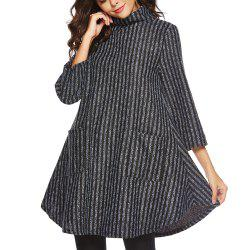 Striped and Thickened Woolen Pocket Coat -