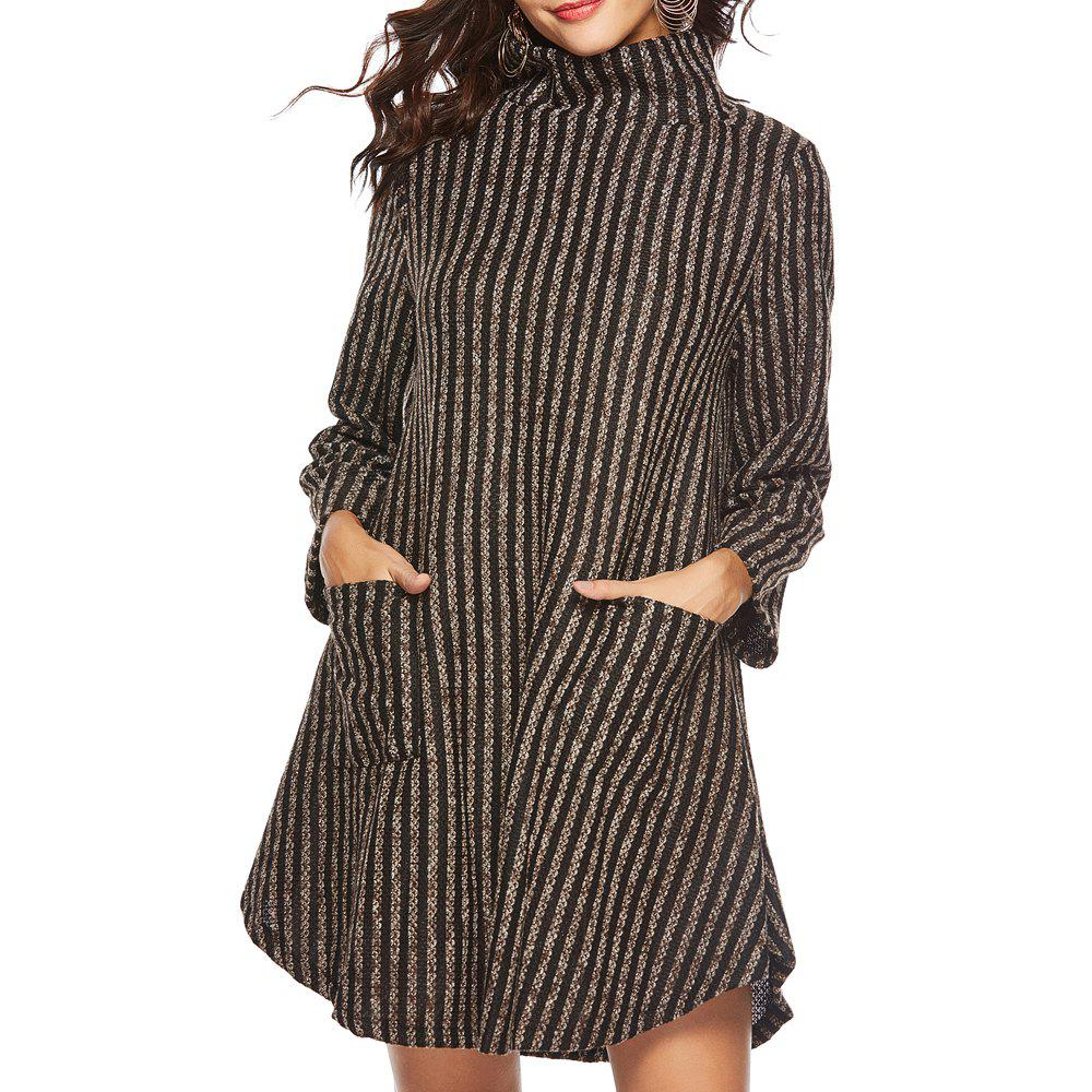 Store Striped and Thickened Woolen Pocket Coat