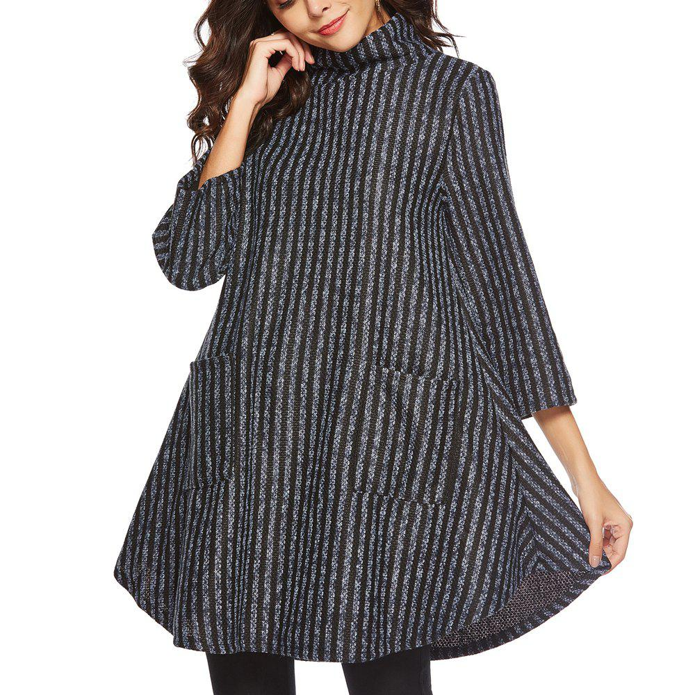Sale Striped and Thickened Woolen Pocket Coat
