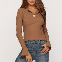 Stand Collar Slit Knit Stretch Slim T - Shirt -