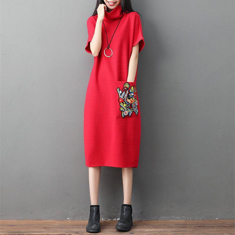Trendy A High-Necked Knit Embroidered Dress