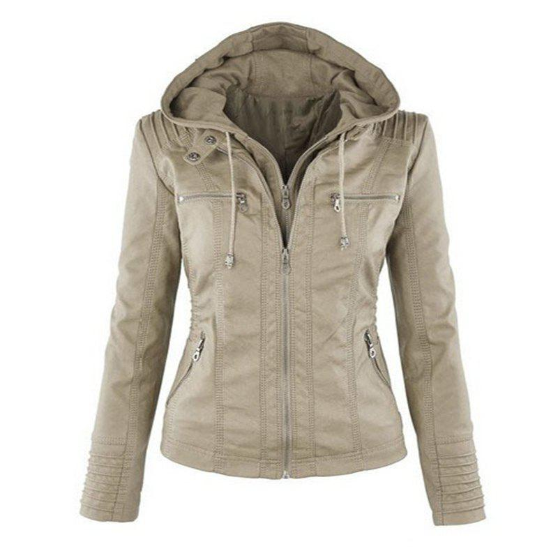 Store 2018 fashion Jacket Female Jacket Detachable Lapel Long Sleeve Solid Color Zipp