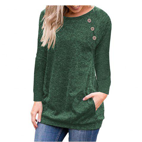 Button Stitching Long Sleeve Pocket Solid Color Womens Tops And Blouse Slim