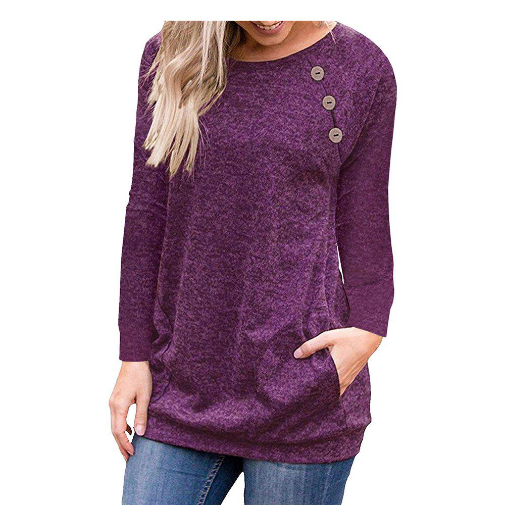 Affordable Button Stitching Long Sleeve Pocket Solid Color Womens Tops And Blouse Slim