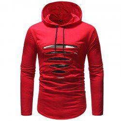 Men'S Hole Solid Color Hooded Casual Long-Sleeved Slim T-Shirt -