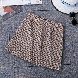 Autumn and Winter Woolen Skinny A Word Skirt Thick Plaid High Waist Skirt -