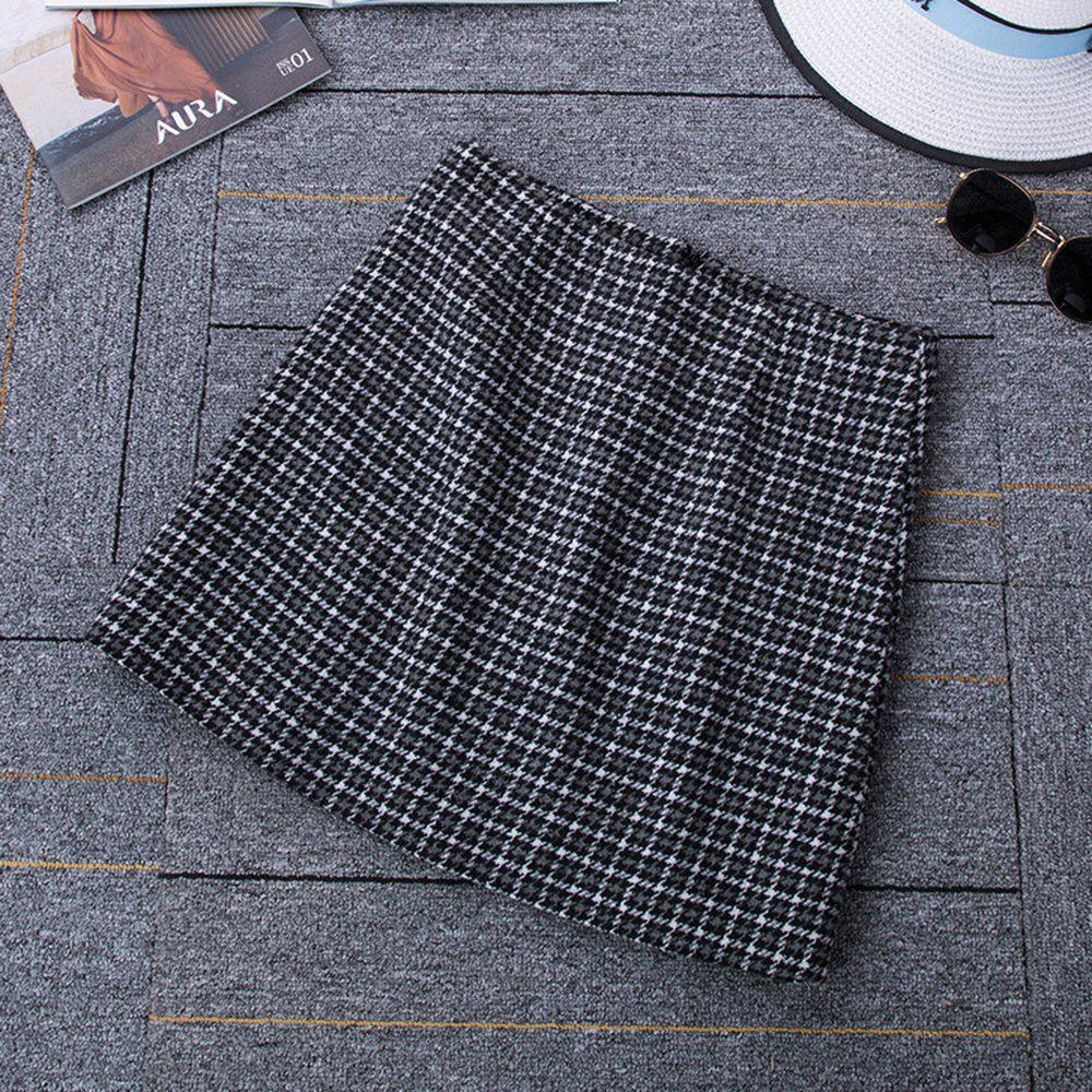 Unique Autumn and Winter Woolen Skinny A Word Skirt Thick Plaid High Waist Skirt