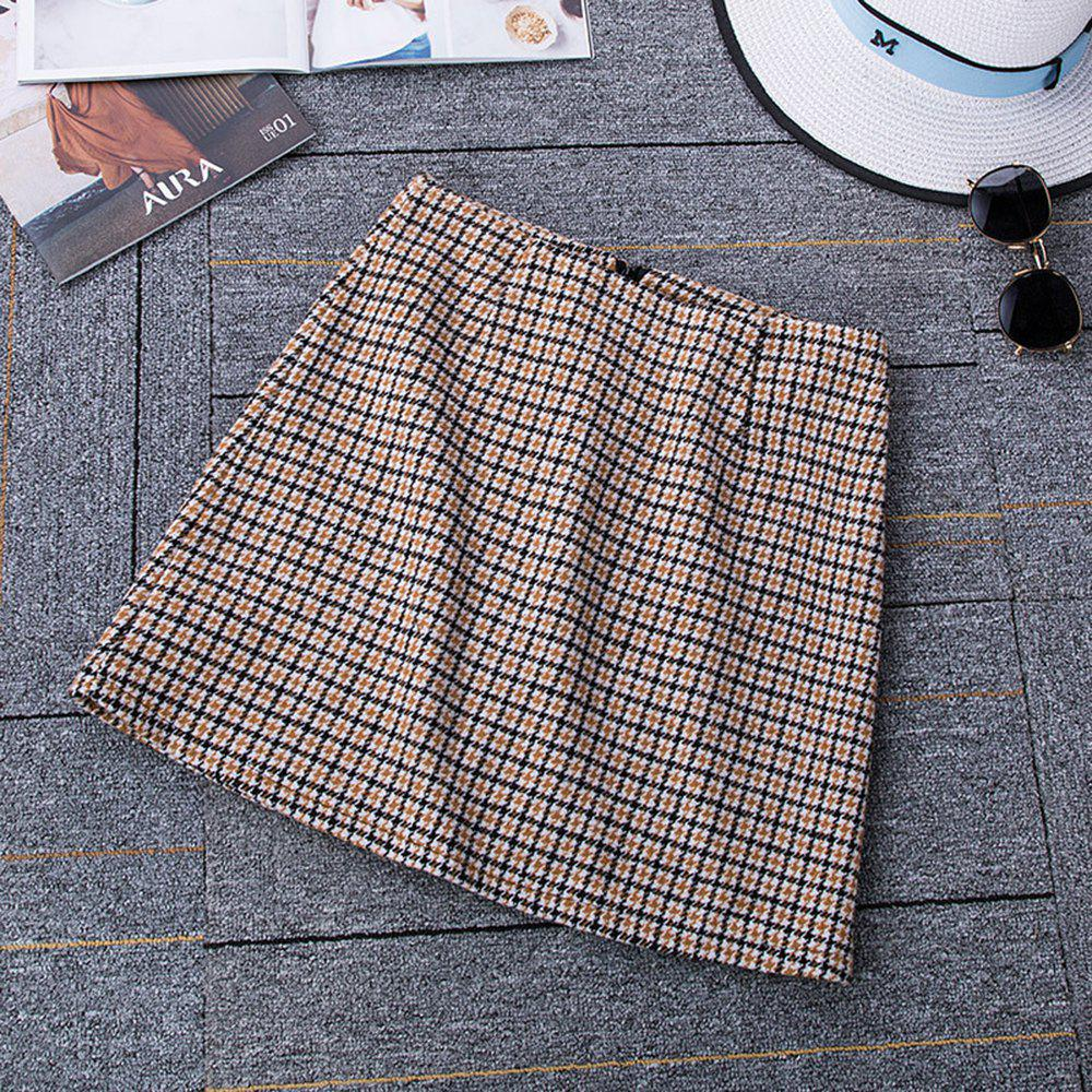 Shop Autumn and Winter Woolen Skinny A Word Skirt Thick Plaid High Waist Skirt
