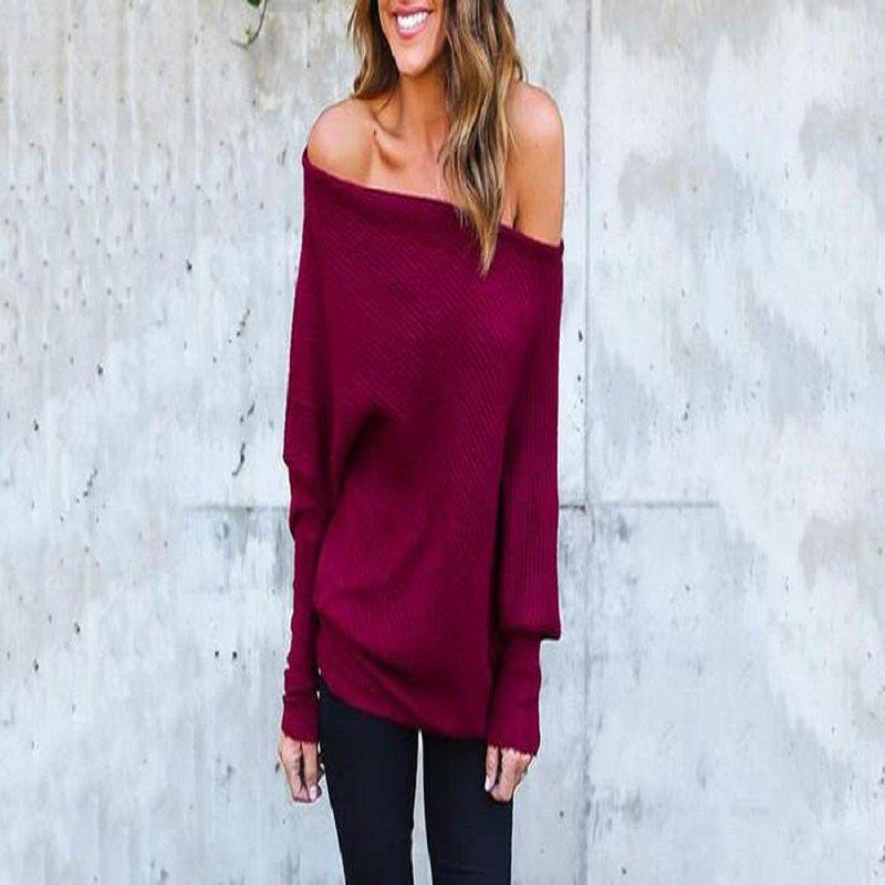Outfits Sexy Off-The-Shoulder Bat Sleeve Thread T-Shirt Blouse for Women