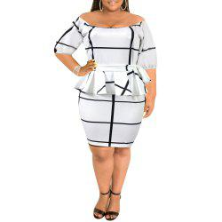 Autumn Large Size One-Piece Collar Explosion Mid-Sleeve Evening Dress -
