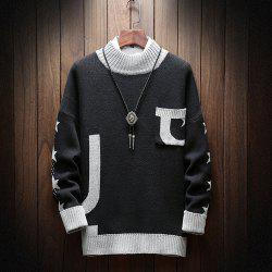 Fashion Men Long Sleeve Sweater Plus Size Turtleneck Sweater Pocket Sweatershirt -