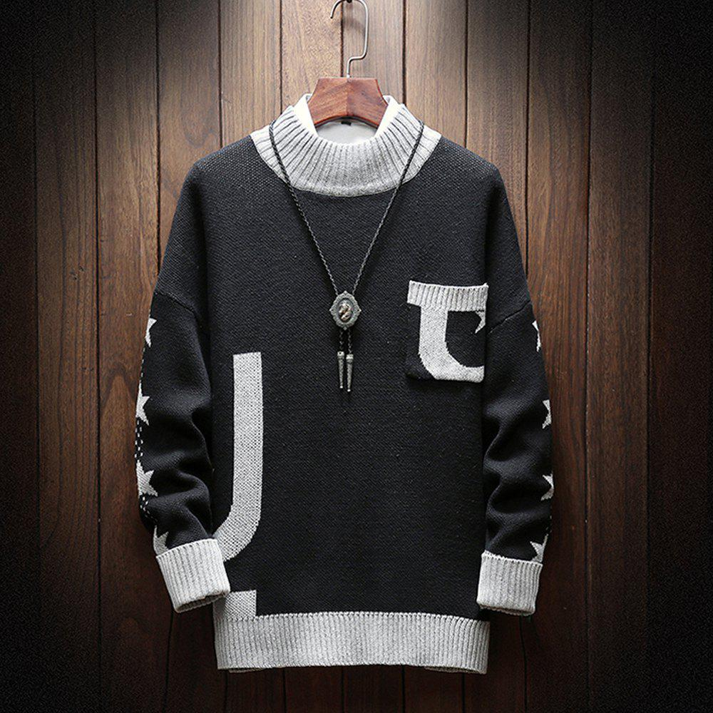 Best Fashion Men Long Sleeve Sweater Plus Size Turtleneck Sweater Pocket Sweatershirt