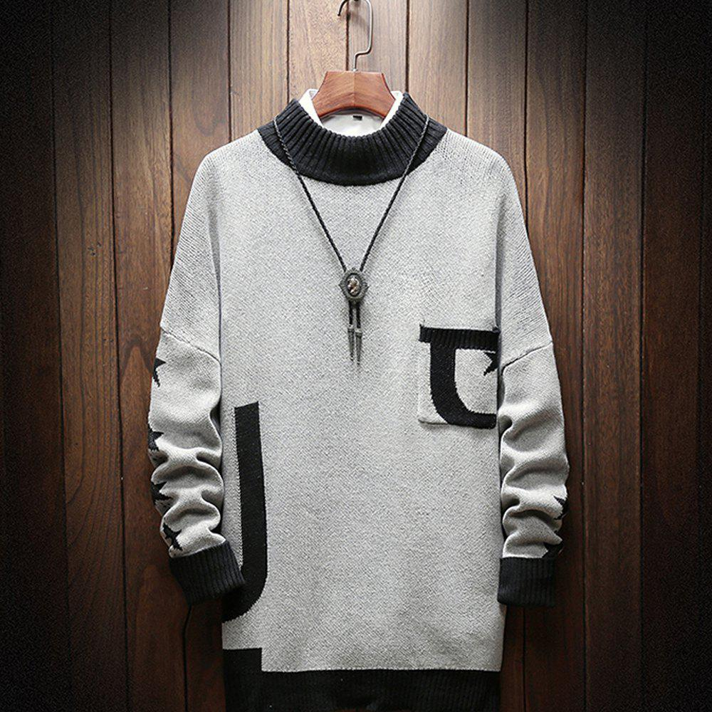 Shops Fashion Men Long Sleeve Sweater Plus Size Turtleneck Sweater Pocket Sweatershirt